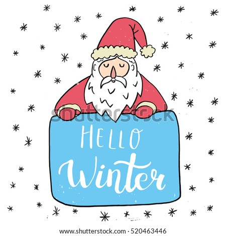 christmas card template santa claus hello winter hand drawn lettering perfect brush