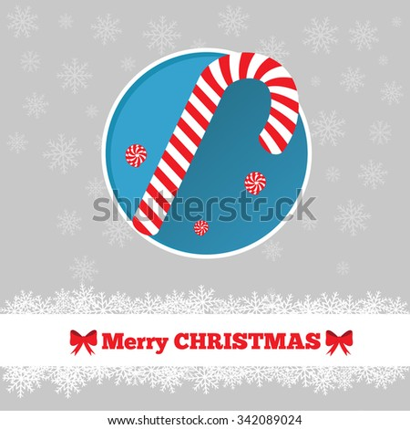 Christmas card template with candy cane in the circle