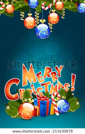 Christmas Card Template with Christmas Decorations and Presents - stock vector
