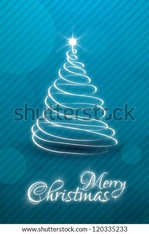 Christmas Card Template Christmas Tree Stock Vector - Christmas card template blue