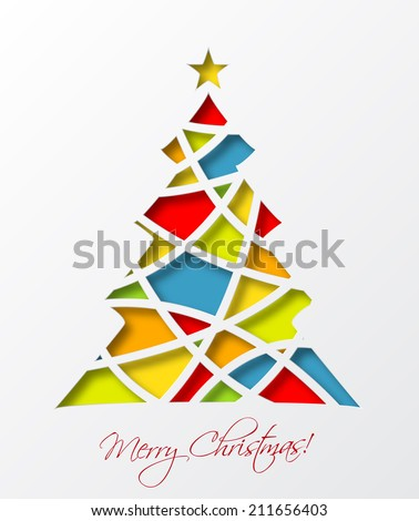 Christmas Card Template Colored Christmas Tree Stock Vector - Christmas card templates to color