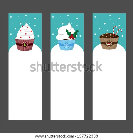 christmas card templates with decorated cupcakes vector - stock vector