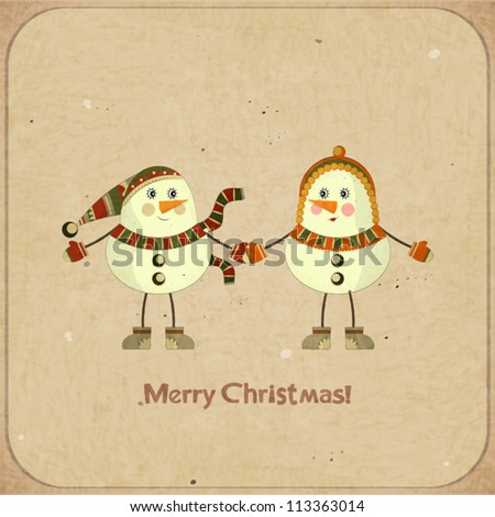 Christmas card - Two snowmen on a retro background - postcard in retro style - vector illustration - stock vector