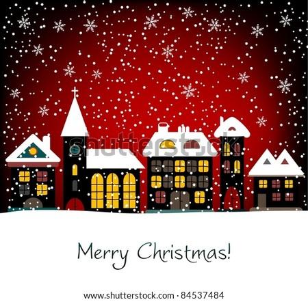 Christmas card, vector - stock vector