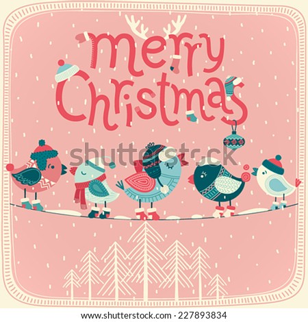 Christmas card. Vector illustration. - stock vector