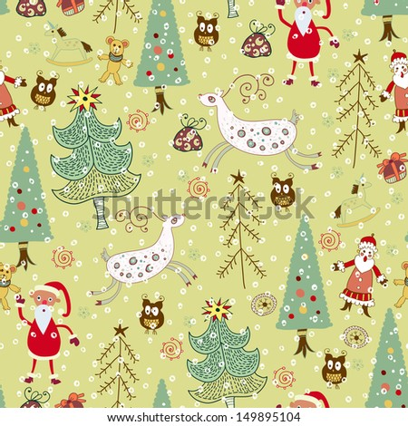 Christmas card.Vector illustration. Forest and deer. seamless pattern - stock vector