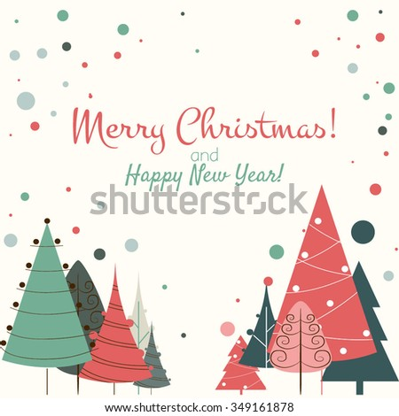 Christmas card Vector New Year background - stock vector