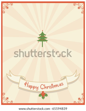 Christmas card.Vintage background with scaroll and text  for design - stock vector
