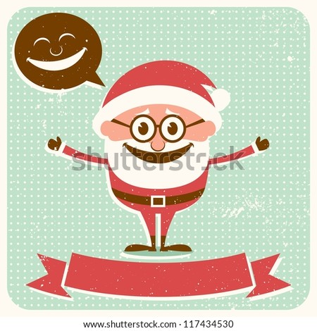 Christmas Card 2: Vintage Christmas card with Santa Claus and copy space for your text.  No transparency and gradients used. - stock vector