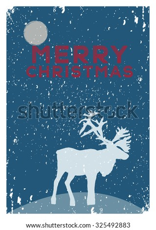 Christmas card vintage minimalist style. Deer on a snowy hill at night under the moon. Hand-drawn sketch vector