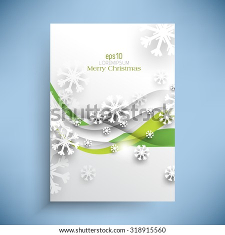 Christmas card wave lines and overlapping snow flakes cold winter season holiday illustration - stock vector