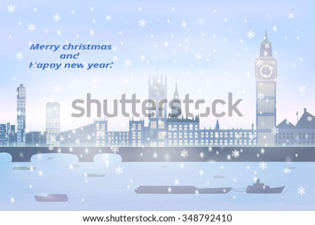 christmas card, winter big city with river, fog, snow, on river going  boats,  vector illustration - stock vector