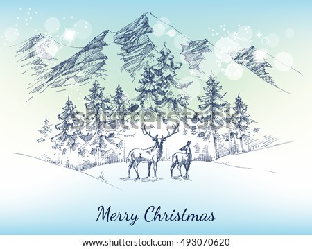 Christmas card. Winter landscape, mountains, pine forest and deer