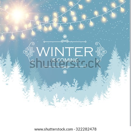 Christmas card. Winter landscape with coniferous forest & light garlands. Vector illustration - stock vector