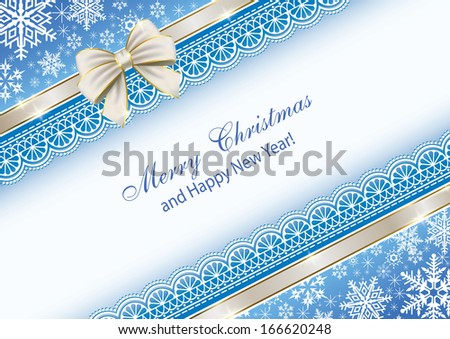 Christmas card with a bow - stock vector
