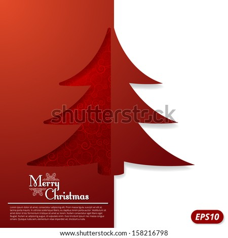 Christmas card with a carved Christmas tree - stock vector