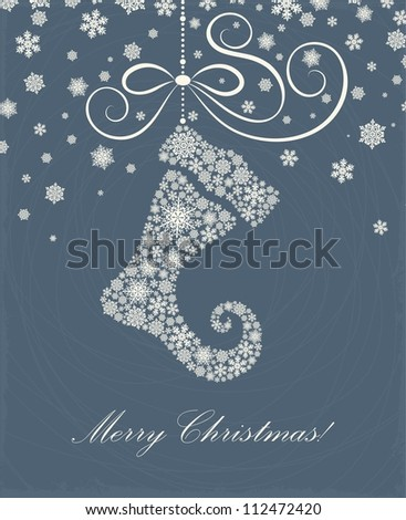 Christmas card with a Christmas sock - stock vector