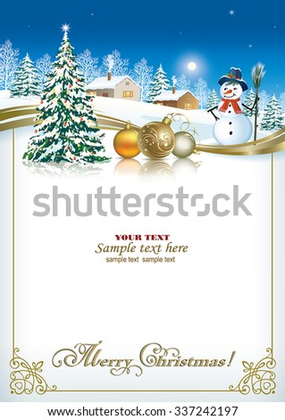 Christmas Card With A Christmas Tree And A Snowman On The Background Of A  Winter Landscape