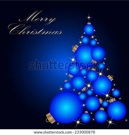 Christmas card with a Christmas tree . vector - stock vector