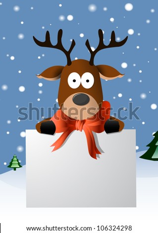 Christmas card with a cute reindeer character - stock vector