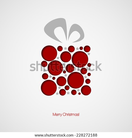 Christmas card with a gift. Vector illustration - stock vector
