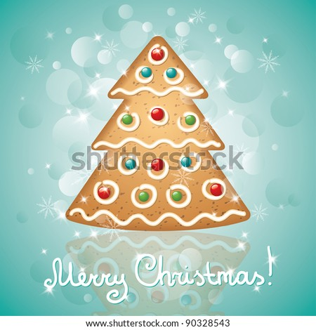 christmas card with a gingerbread and stars, christmas tree shape - stock vector