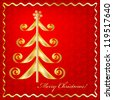 Christmas card with a gold fir-tree on a red seamless textured background and an inscription Merry Christmas! Vector. eps 10 - stock vector