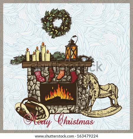 Christmas card with a lit fireplace and a horse. Vector illustration for greeting cards, invitations, and other printing and web projects. - stock vector