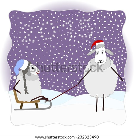 Christmas card with a pair of cute little sheep. - stock vector