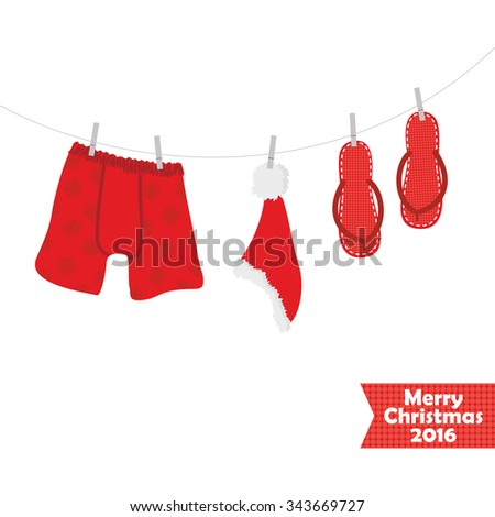 Christmas card with a picture of beach accessories, swimsuit, eps 10