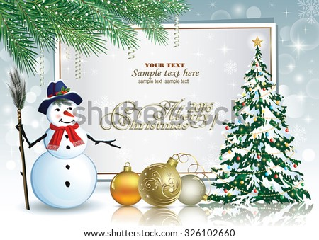 Christmas card with a snowman and Christmas tree - stock vector