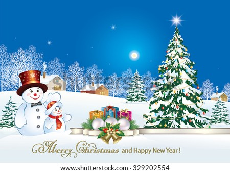 Christmas card with a snowman, Christmas tree and gifts on the background of nature.