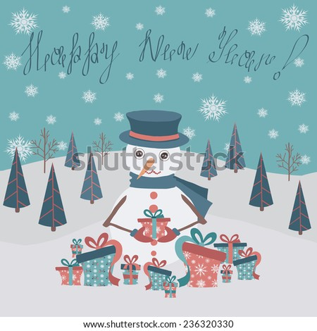 Christmas card with a snowman on snowy landscape in flat design.Vector illustration. - stock vector