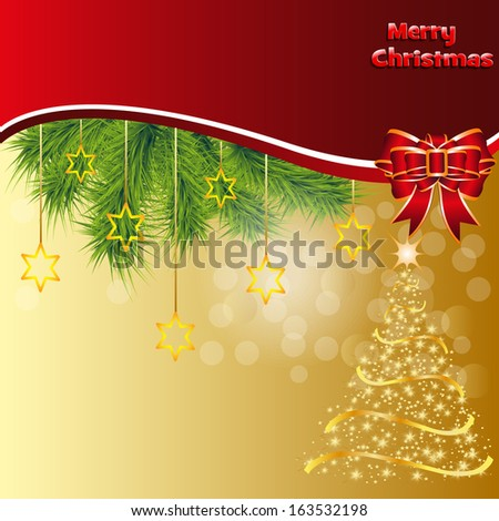 Christmas card with a tree. All design elements are easily edited. Stock