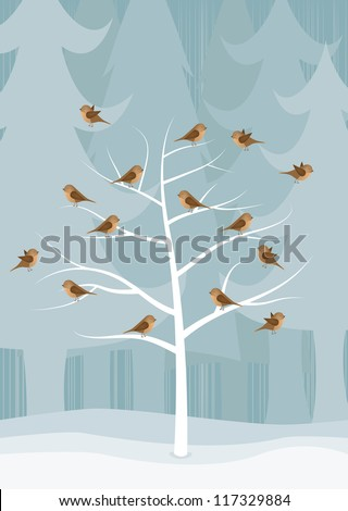 Christmas card with a tree covered with birds, vector - stock vector