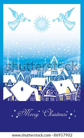 Christmas card with an angel - stock vector