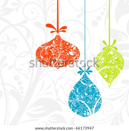 Christmas card with an ornament, vector illustration - stock vector