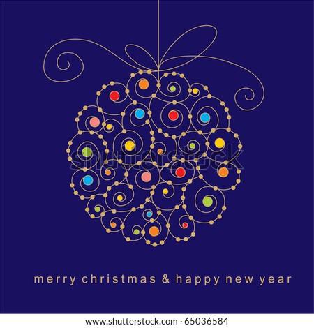 christmas card with ball - stock vector