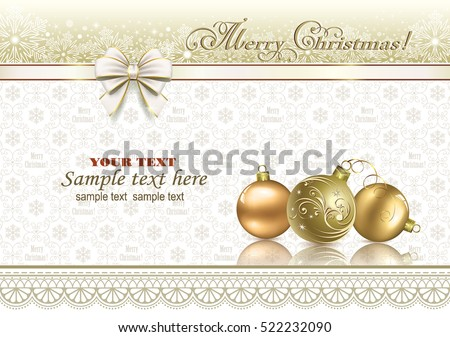 Christmas card with ball and a ribbon with a bow on a background ornament
