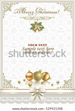 Christmas card with ball and bells in a frame with an ornament