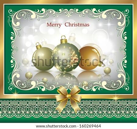 Christmas card with balls - stock vector
