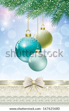 Christmas card with balls  - stock vector