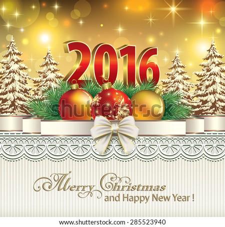 Christmas card with balls.Digits 2016, balls, tree, ribbon, bow, ornament. - stock vector
