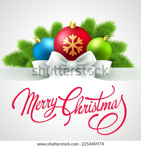 Christmas card with bauble - stock vector