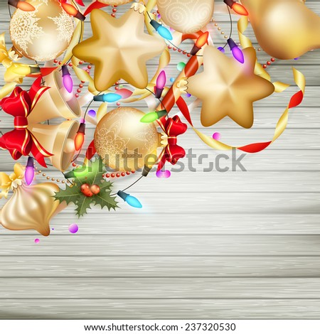 Christmas card with baubles on Wooden board. EPS 10 vector file included