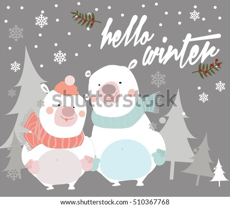 Christmas card with bears. Pastel vector illustration. Hello winter