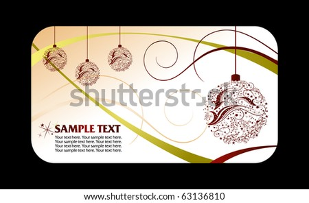 Christmas card with bell - stock vector