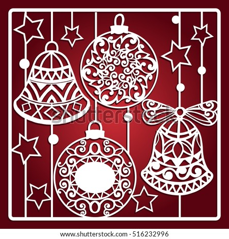 Christmas Card Bells Laser Cutting Laser Stock Vector