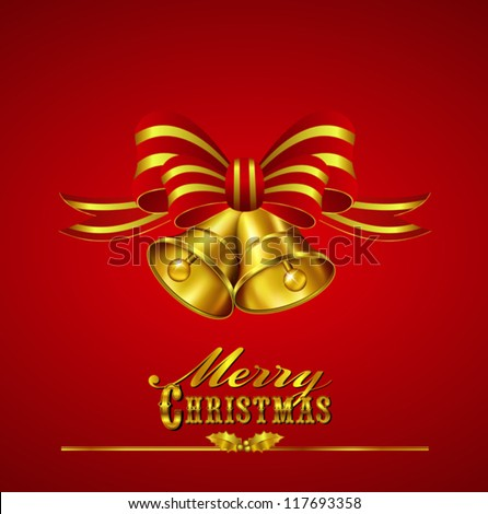 Christmas Card with Bells with hand drawn typefaces Bells and Ribbon - All elements are on individual layers in the vector file for easy editing - stock vector