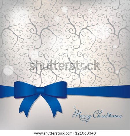 Christmas card with big bow - stock vector